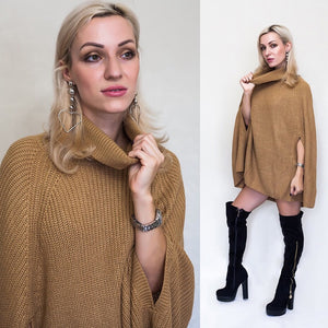 "[25% OFF] ""Miamasvin 사랑해요 미아마스빈"" FW18 Classy Korean 한글 Knitted Turtleneck Sweater Dress with Cloak - Neko Suki,"