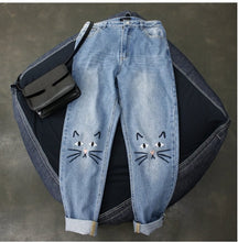 [25% OFF] Premium Quality Cat Face Embroidery Denim Jeans - Neko Suki,