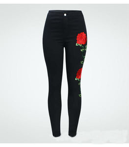 [25% OFF] Premium Quality Rose Embroidery Stretchable Skinny Fit Denim Jeans - Neko Suki,