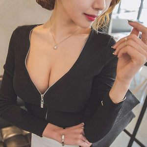 "[30% OFF] ""STYLENANDA"" Erotic Korean 한글 Black Zipper Deep V-Neck Long Sleeve Blouse - Neko Suki,"