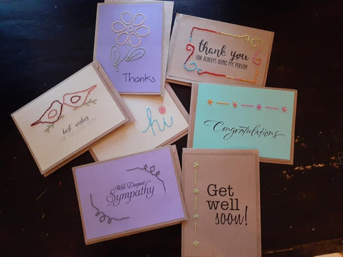 Handstitched All Occasions Cards