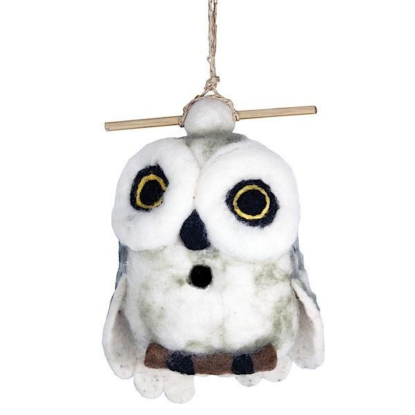 Felt Birdhouse - Snowy Owl Handmade and Fair Trade