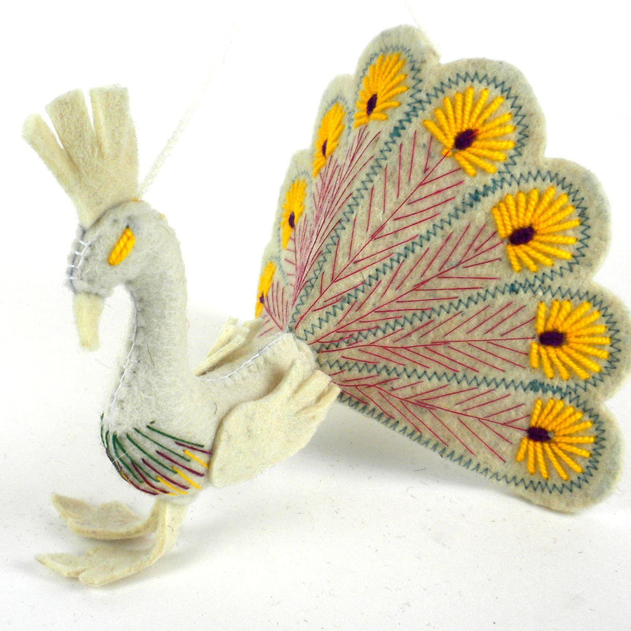 White Peacock Yellow Trim Felt Holiday Ornament - Silk Road Bazaar (O)
