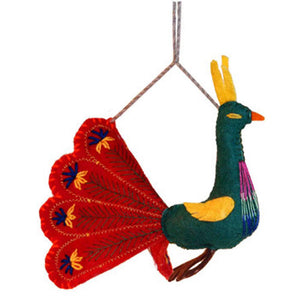 Red Peacock Ornament - Silk Road Bazaar (O)