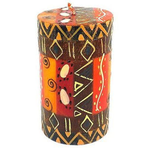 Single Boxed Hand-Painted Pillar Candle - Bongazi Design Handmade and Fair Trade