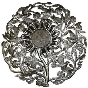 Sunflower and Birds Metal Wall Art 24-inch Diameter Handmade and Fair Trade