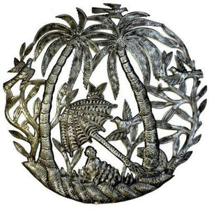 Steel Drum Art - 24 inch Palm Trees and Umbrella Handmade and Fair Trade