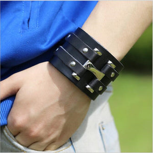 Pure Handmade Genuine Leather Bracelets Brand Fashion Punk Wide Cuff Bracelets - JarBello Gifts