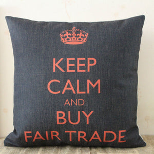 "LINKWELL 18""x18"" Crown Keep Calm and Buy Fair Trade Words Monogram Letter Burlap Seat Pillowcase Cushion Cover for Home Decor - JarBello Gifts"