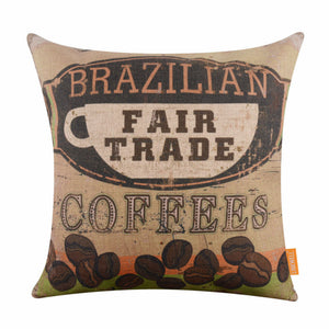 "LINKWELL 18""x18"" Vintage Brazilian Fair Trade Coffee Bean Organic Yellow Brown Colour Burlap Decorative Pillowcase Cushion Cover - JarBello Gifts"