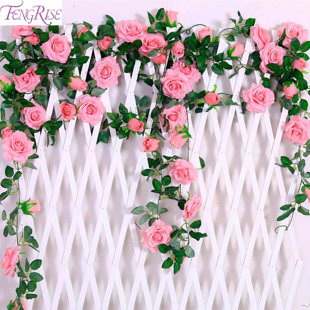 New at jarbellos boutique fengrise 24mlot silk rose flower with ivy vine artificial flowers for home wedding izmirmasajfo
