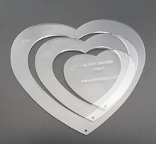 "8"" Inch 3mm Thick Clear Acrylic 3 Piece Heart Template Set"