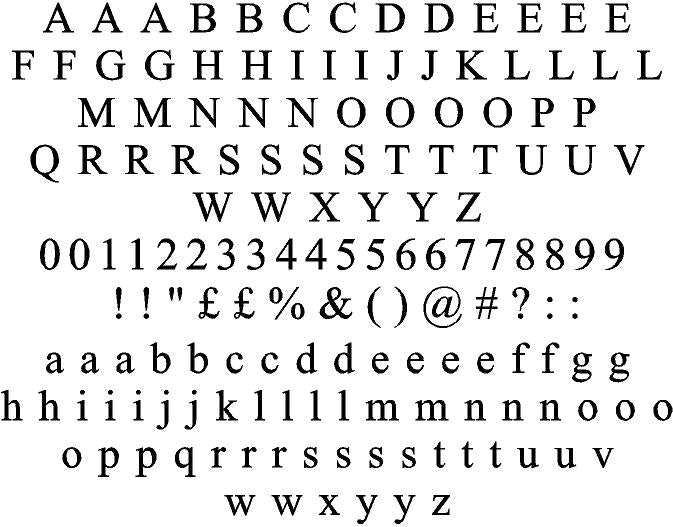 Times New Roman Regular Font - Sticky Letters & Numbers