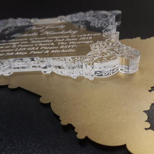 Wedding Invitations in 10mm quality clear acrylic