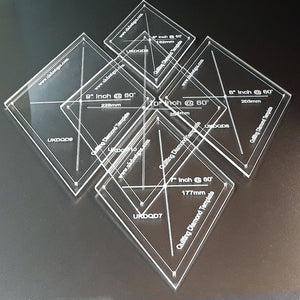 9 Piece Professional 60º Diamond Quilting Template Set
