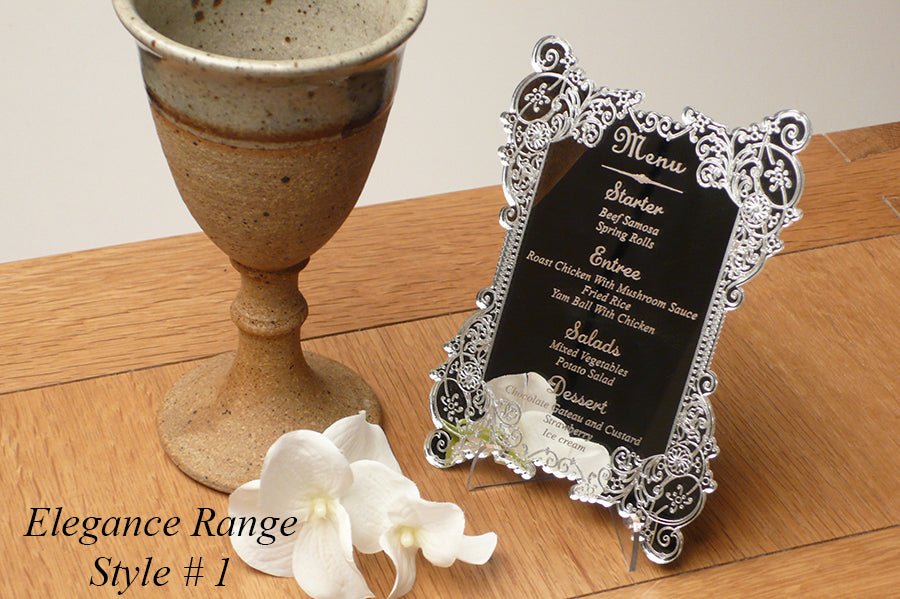 beautifully crafted wedding menus with personal wording engraved | clear acrylic menus | gold menus | glass effect menus | uk designz | Professional wedding menus |