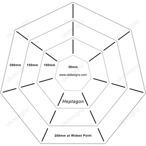 heptagon template set in plastic