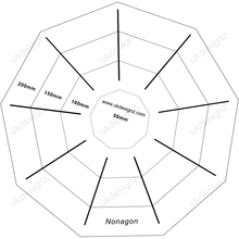 clear plastic nonagon template set in clear