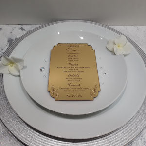 Gold Acrylic Personalised Wedding Breakfast Menus
