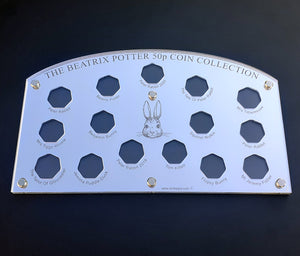 BEATRIX POTTER         50p piece coin display cases to hold the full set of 15 coins