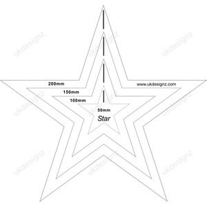 plastic star template set in clear 3mm acrylics