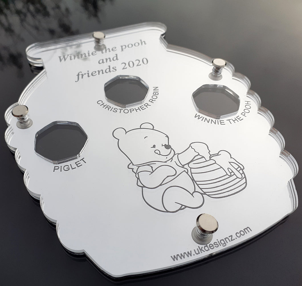 Winnie the pooh and Friends Unique Honey pot shape coin display case  Celebrate friendship and adventure with our Winnie the pooh and Friends inspired by the timeless stories of A. A. Milne and featuring the charming illustrations of E. H. Shepard. honey pot shape.