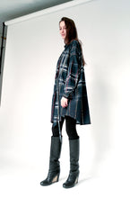 Load image into Gallery viewer, Oversized navy checkered cotton Shirt-Dress