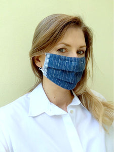 Soft denim with lace fabric face mask - made to order