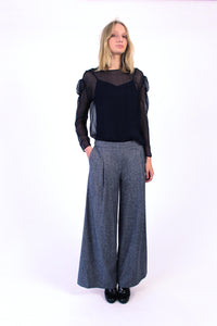 Wool blend Wide-Leg Pants - Blue
