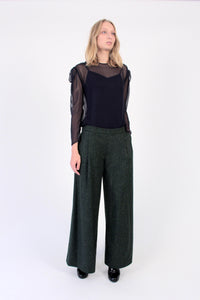 Wool blend Wide-Leg Pants - Green