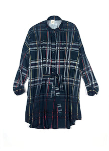 Oversized navy checkered cotton Shirt-Dress