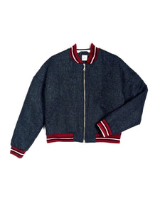 Wool vintage style padded Bomber - Navy