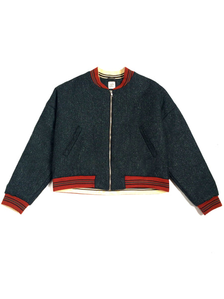 Wool vintage style padded Bomber - Green
