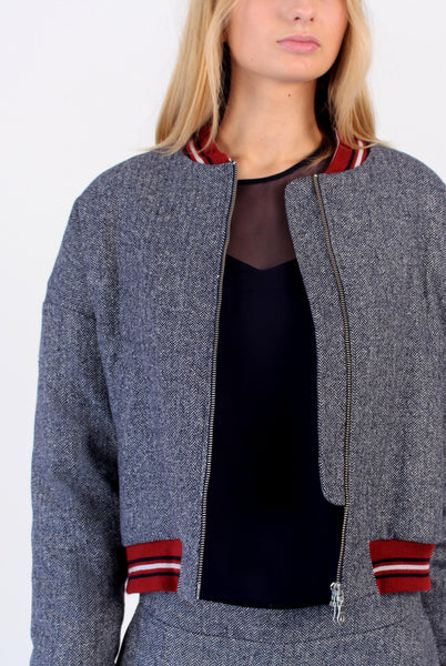 Wool vintage style padded Bomber - Blue