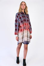 Load image into Gallery viewer, Oversized bordeaux-beige checkered cotton Shirt-Dress