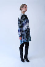 Load image into Gallery viewer, Oversized blue-green checkered cotton Shirt-Dress