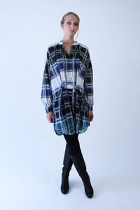Oversized blue-green checkered cotton Shirt-Dress