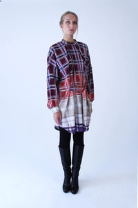 Oversized bordeaux-beige checkered cotton Shirt-Dress