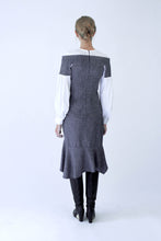 Load image into Gallery viewer, Wool blend tweed and cotton Corset Shirt