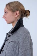 Jacket in mixed wool with zips all along sleeves - Light grey
