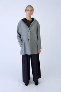 Wool blend Hooded Coat with side slits - Light grey