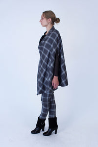 Tailored Jacket-cape in Italian wool - Grey checkered