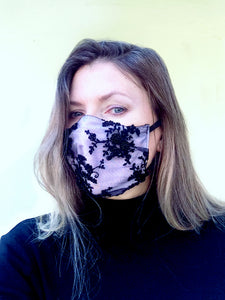 Sharlie lace & silk face mask - Made to order
