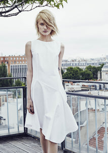 Cotton Piqué Asymmetric Dress