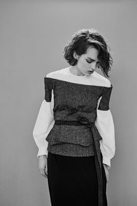 Wool blend tweed and cotton Corset Shirt