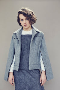 Jacket in mixed wool with zips all along sleeves