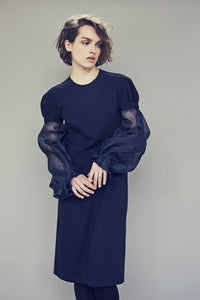 Punto Milano jersey Dress with organza sleeves