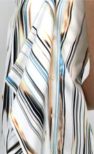 Load image into Gallery viewer, Blue-Gold Glitch Stripped Cotton Sundress