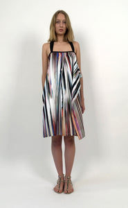 Multicolored Glitch Stripped Cotton Sundress