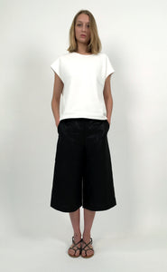 Linen Cropped Wide-leg Pants